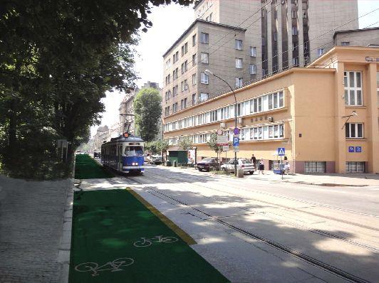 Kraków: droga rowerowa wokół Plant zamiast pasa dla samochodów?